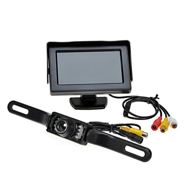 7 luces infrarrojas sistema de pantalla de marcha atrás automático 4,3 pulgadas Monitor LCD Auto Pantalla de coche IP67 cámara de aparcamiento con Monitor