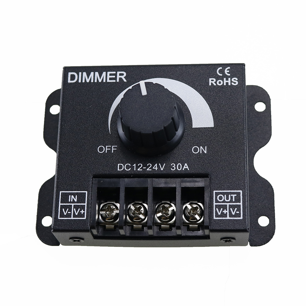 30A LED Dimmer DC 12V 24V 360W Adjustable Brightness Lamp Bulb Strip Driver Single Color Light Power Supply Controller 5050 3528