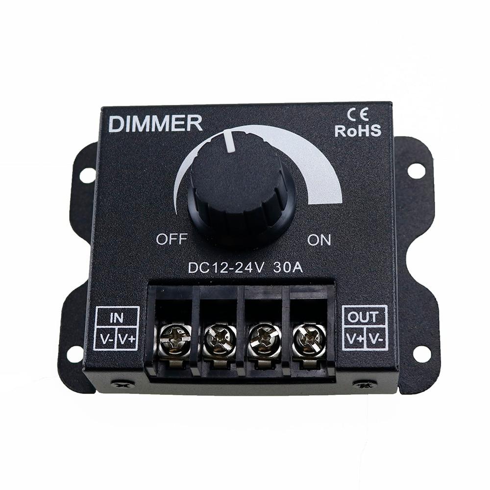 30A LED Dimmer DC 12V 24V 360W Adjustable Brightness Lamp Bulb Strip Driver Single Color Light Power Supply Controller 5050 3528