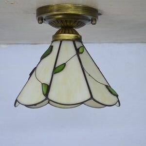 Image 2 - Luce di Soffitto di Tiffany Stained Glass Paralume Fresco Stile Country Illuminazione Camera Da Letto E27 110 240 V