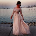 Vestidos De Fiesta Elegant Beaded A Line Sequins Chiffon Beautiful Pink Long Prom Formal Gown Long Sleeves Evening Dresses