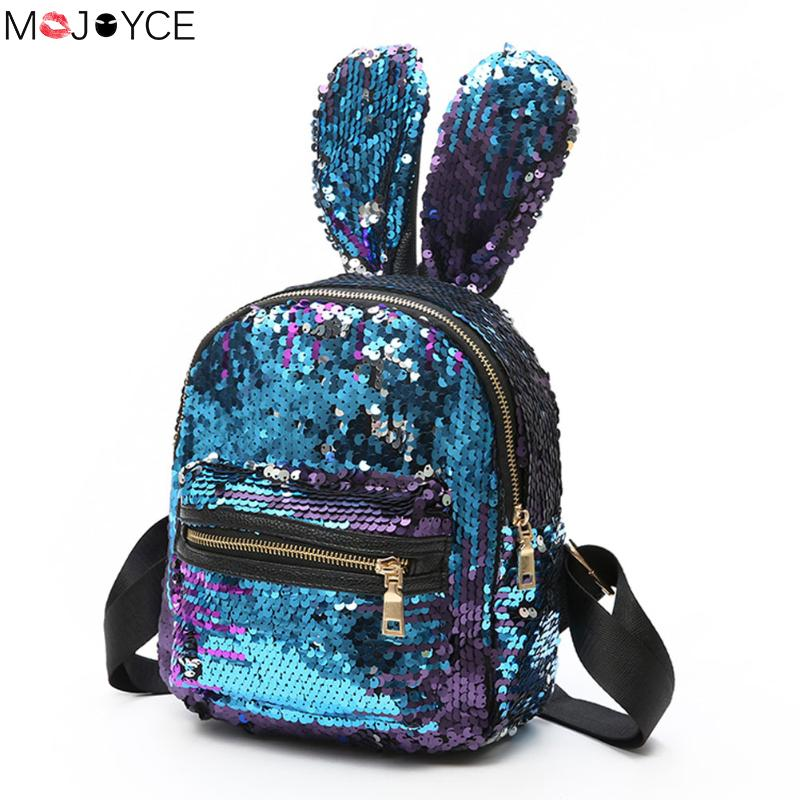 Shinning Bling Sequins Cute Big Rabbit Ears Backpack For Teenager Girls Mochila Shoulderbag Women Mini Travel Cute Bag Escolar
