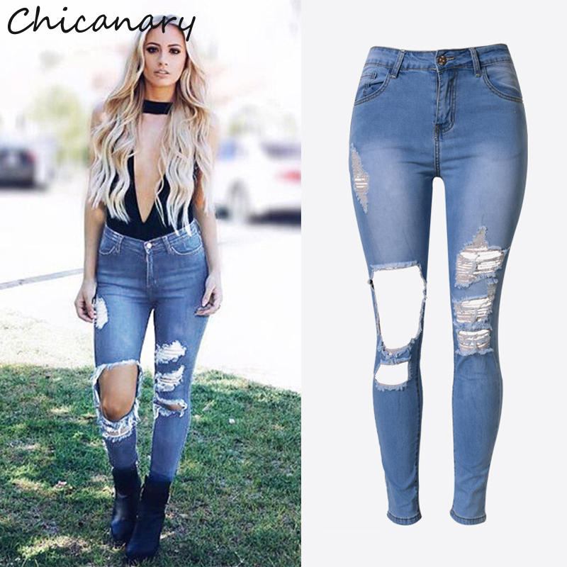 2016 New Ripped High Waist Denim Jeans Skinny Pencil Pants Europe Women Fashion Stretchy Casual Leggings