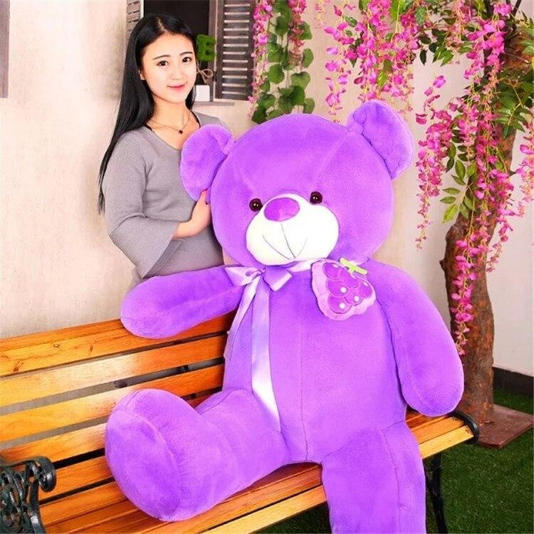 new arrival stuffed plush toy lovely grape design huge 125cm purple teddy bear soft hugging pillow ,christmas gift b1456 90cm cute love bear plush toy teddy bear soft stuffed toy christmas gift new