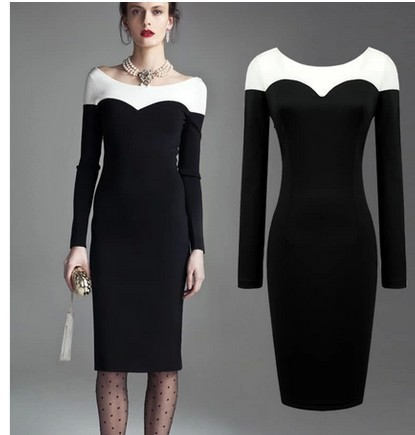 56c38036eb 60s Clothing Audrey Hepburn Dress White Black Long Sleeve Elegant 50s Style  Plus Size 60s Dress Vestidos