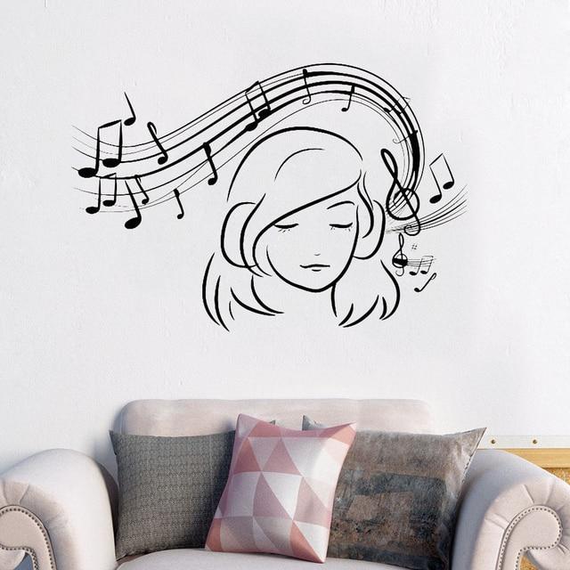 Musical Girl Wall Decal Vinyl Music Lover Wall Sticker Music Teen ...