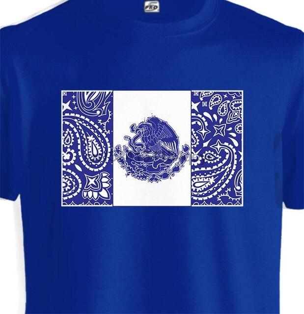 2cf02d34b Mexico Flag Blue Bandana Print T shirt Mexican Eagle Aztec Tattoo Art Mayan  Tee