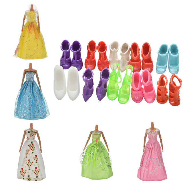 5 unids/set partido hecho a mano vestido de moda para muñeca Barbie ...