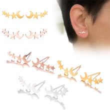 2019 New Double Moon Star Stud Earrings Ear Climber Tiny girls women Daily Jewelry Accessories