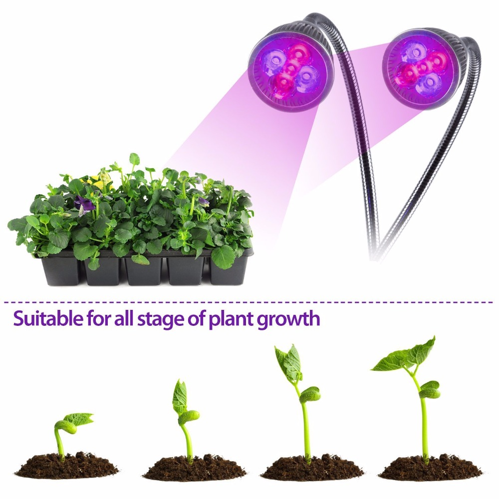 10W10 LED lamp double-head clip plant light indoor greenhouse plant fruit fish animals grow light plants grow faster and healthy