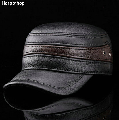 e6eee40870 US $26.52 49% OFF|HARPPIHOP FUR Fashion sheepskin military hat cadet cap  hat for man genuine leather hat quinquagenarian hat thermal ear-in Military  ...