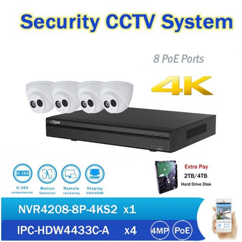 DH CCTV NVR Kits 8CH PoE 4K Network Video Recorder NVR4208-8P-4KS2 with 4pcs IPC-HDW4433C-A 4MP IP Dome Camera built in mic dahua original 8ch 4mp h2 64 dh ipc hdbw1420e 8pcs network camera poe dahua dhi nvr4208 4ks2 dome ip cctv security camera kit