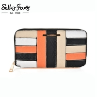 2017 Sally Young International Brand Newest Women Wallet Long Purse Patchwork And Checked Design Wallet 6