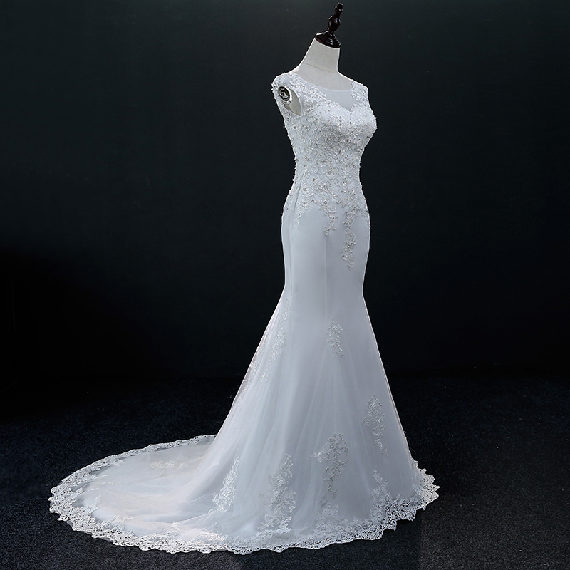 White Sleeveless Lace Mermaid Wedding Dress 3