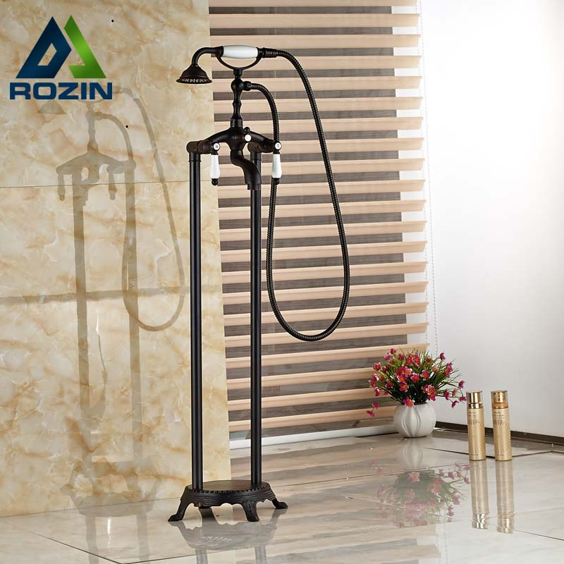 Oil Rubbed Bronze Bath Clawfoot Freestanding Tub Shower Filler Faucet Dual Handle with Handshower