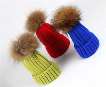 Womens Girls Winter Fur Hat Real Large Raccoon Fur Pom Pom Beanie Winter Hats detachable