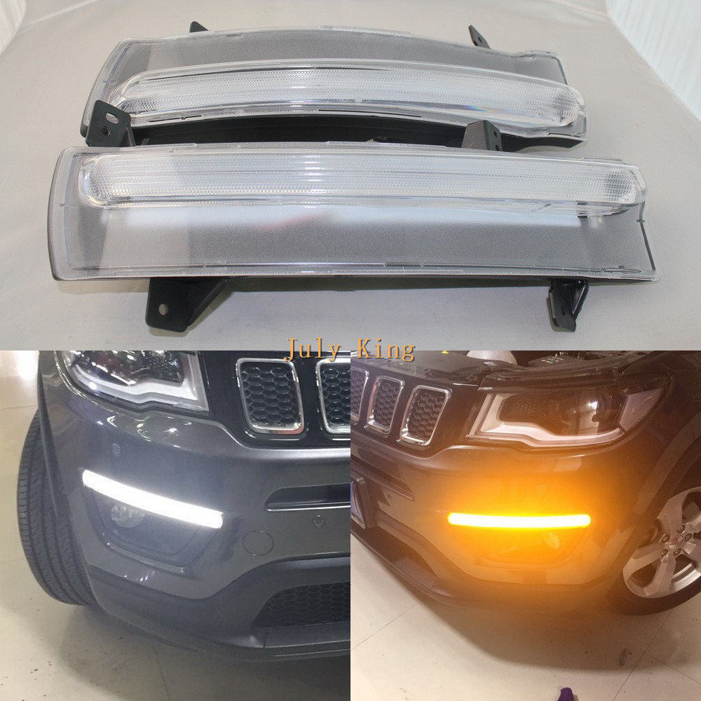 July King LED Daytime Running Lights Case for Jeep Compass 2017+, LED Front Bumper DRL with Yellow Turn Signals Light