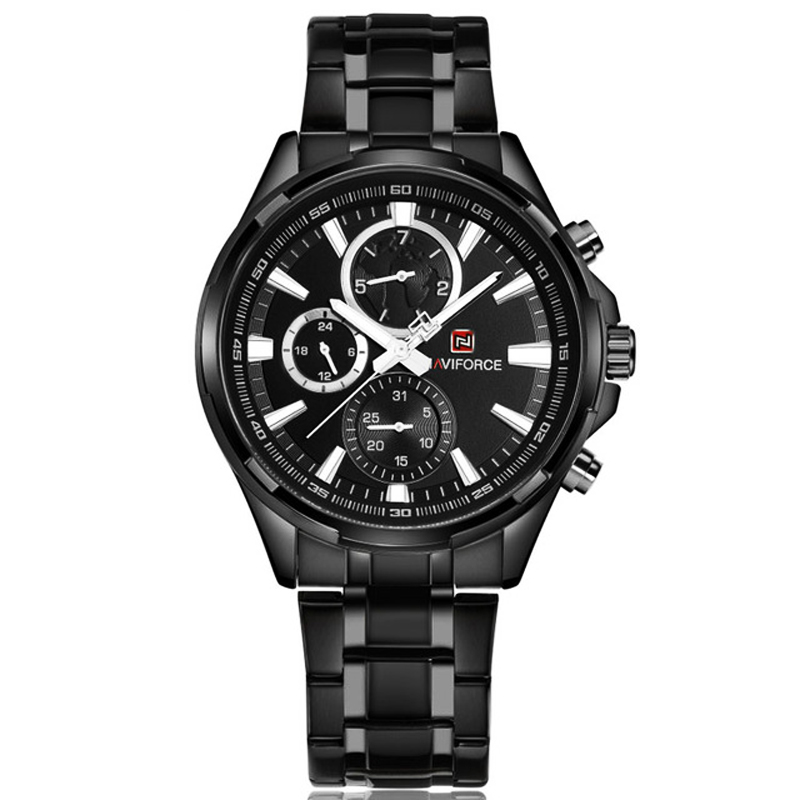 NAVIFORCE Relogio Masculino Mens Watches Top Brand Luxury Black Steel Quartz Watch Men Casual Sport Chronograph Wristwatch 2017 reef tiger brand men s luxury swiss sport watches silicone quartz super grand chronograph super bright watch relogio masculino