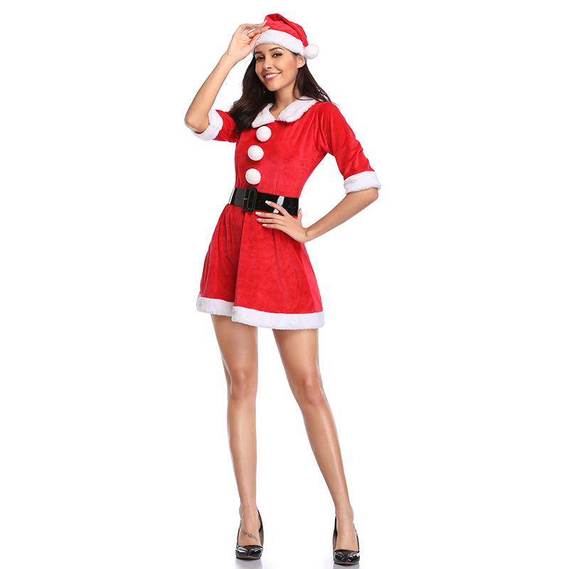 Women Christmas   Corset   Gift Festival   Bustier   Costumes Hooded Red Corduroy Xmas   Corsets     Bustiers   Santa Claus Dress With Hat Set
