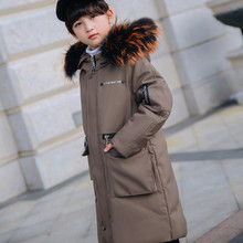 hot deal buy christmas girls and boys white duck down jacket winter long jackets children outerwear coats fashion thick warm big collar