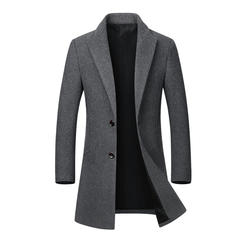 Automne Hiver manteau en laine décontracté Mince Veste Hommes col montant Peacoat Pardessus Laine Palto Coupe-Vent Veste Mâle trench-coat