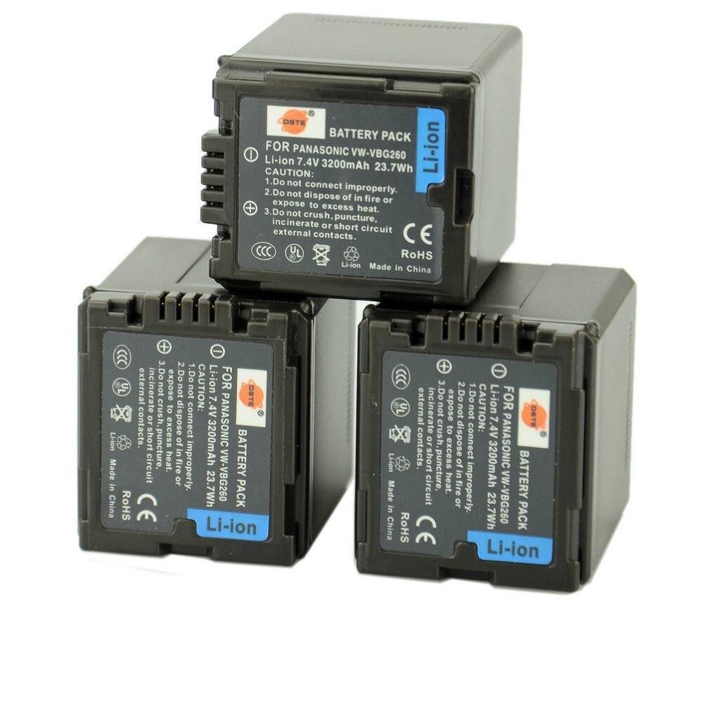 DSTE 3pcs VW-VBG260 Camera Battery for Panasonic VDR-D160 VDR-D210 VDR-D220 VDR-D230 VDR-D310 VDR-D50 VDR-D51