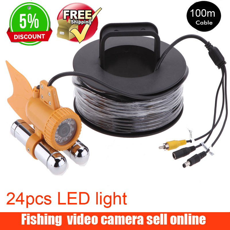 Рыболокатор с кабелем 100 м, ТВЛ, CCD, камера для рыбалки, подводная видеокамера, рыболокатор, 24 шт. белых светодиода, ночное видение