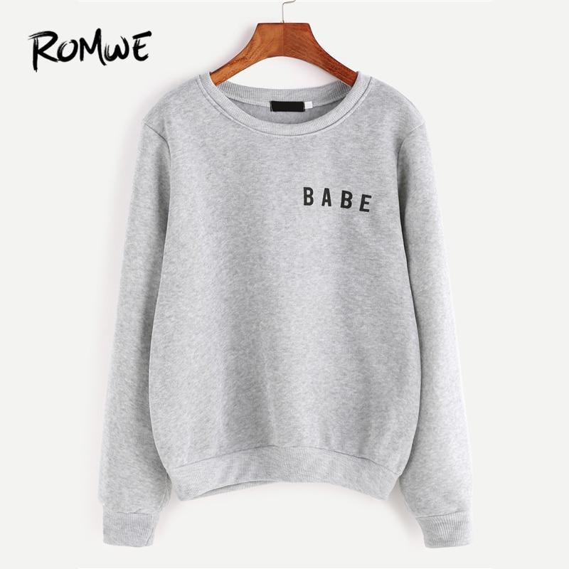 b7128996aac566 ROMWE Light Grey Letter Print Grey Sweatshirt Ladies Spring Autumn Winter Round  Neck Long Sleeve Female Casual Hoodie-in Hoodies & Sweatshirts from Women's  ...
