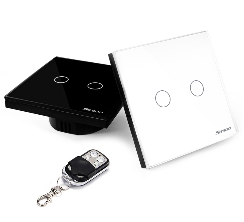 F18553/54 EU/UK SESOO Remote Control Switches 2 Gang 1 Way Crystal Glass Switch
