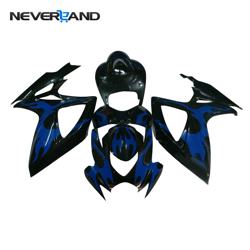 NEVERLAND <font><b>Fairing</b></font> Bodywork <font><b>Kit</b></font> Frame Injection ABS For Suzuki GSXR600 GSXR750 <font><b>GSXR</b></font> <font><b>600</b></font> 750 K6 2006 <font><b>2007</b></font> Blue Black <font><b>Fairing</b></font> D25 image