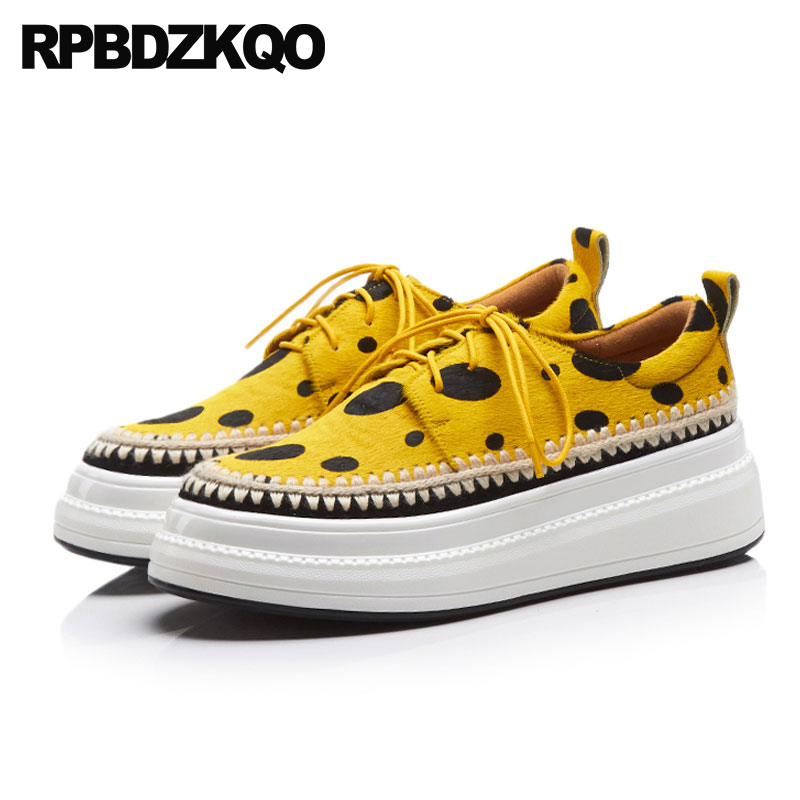Plate-forme Creepers ascenseur Muffin baskets semelle épaisse Wedge formateurs Polka Dot large Fit chaussures dames luxe jaune décontracté femmes