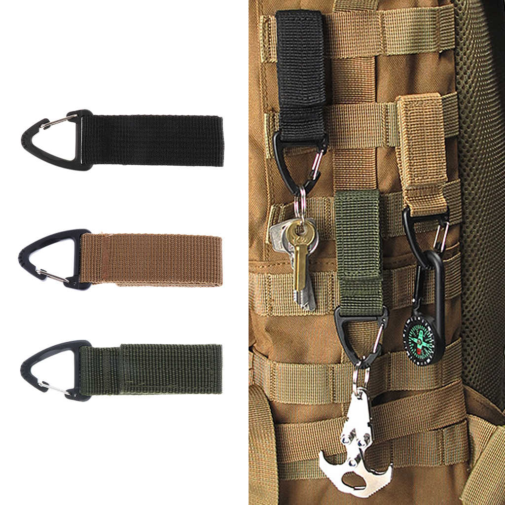 Carabiner Hook Webbing Buckle Nylon Molle Belt Hanging Key Ring Exterior