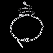 Anklets 925 Sterling Silver fashion Two pieces charms pendant For Women Jewelry Gift bag free a159