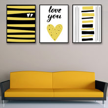 Modern Nordic Minimalist Cartoon Geometric Love Yellow Wall Pictures A4 Art Prints Poster Abstract Canvas Painting Home Decor(China)