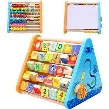 Baby Girls Boys Early Education Learning Wood 5 side learn shelf Math Toys For Children Building Blocks Box Gift