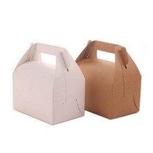 500 шт ретро портативный кекс коробка крафт-бумага подарочная коробка свадебные конфеты коробка для упаковки торта 13*8,5*8 см W9976