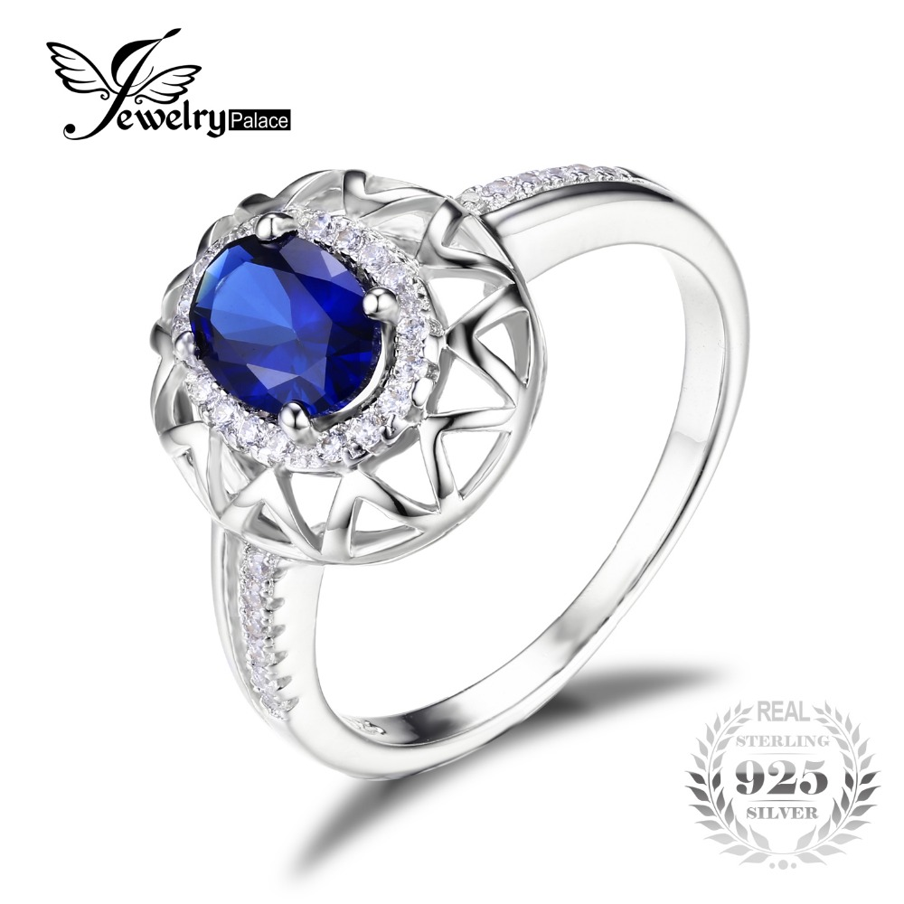 Jewelrypalace Unique Design 12ct Created Blue Sapphire Ring 925 Sterling  Silver Jewelry Charms Statement Ring