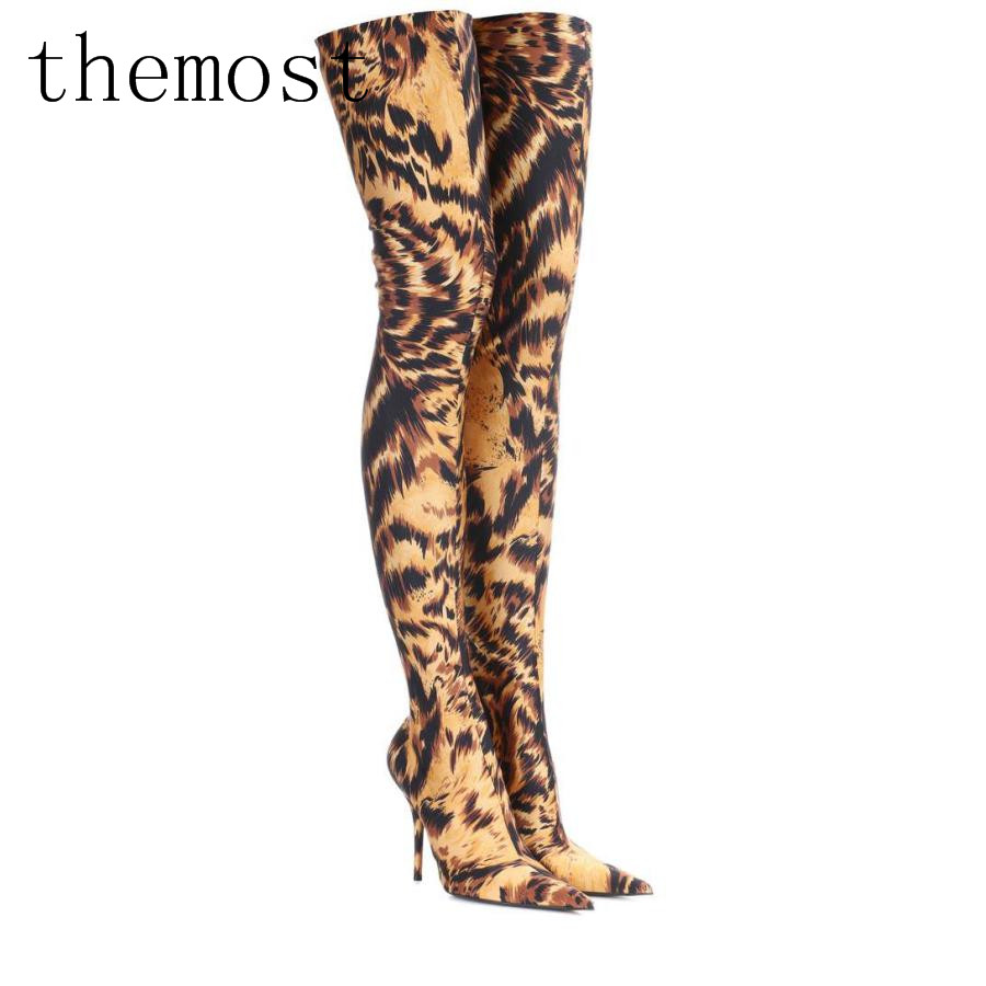 ARQA  2018 Europe and the latest leopard stretch thigh boots ladies sexy fashion size 33-48 wholesale salesARQA  2018 Europe and the latest leopard stretch thigh boots ladies sexy fashion size 33-48 wholesale sales