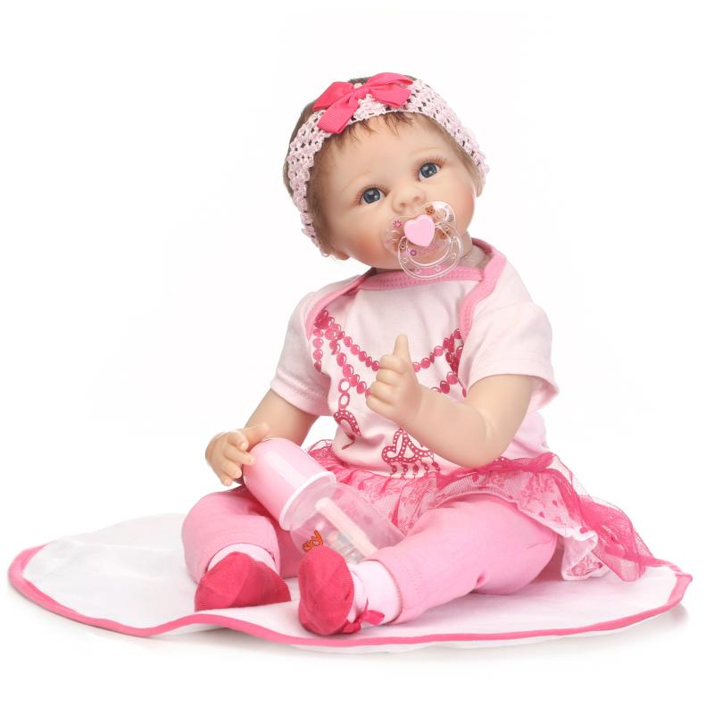 New Lovely Girl Reborn Doll 22 Inch Realistic Silicone Realtouch Newborn Babies Toy With Pink Clothes Kids Birthday Xmas Gifts new arrival 55cm blue eyes pink clothes lifelike baby soft girl doll with free plush toy as kids xmas gifts birthday doll toys