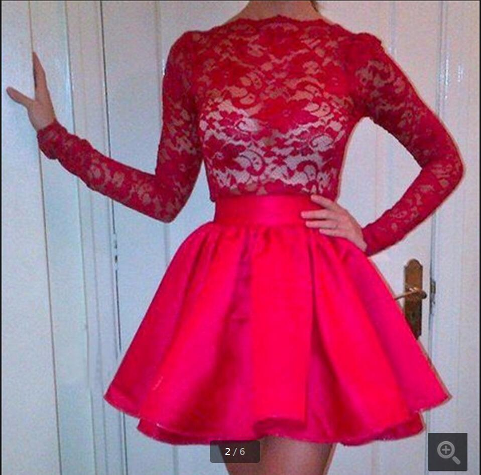2016 New Arrival Short Red Lace Prom Dress Long Sleeve Modest Two