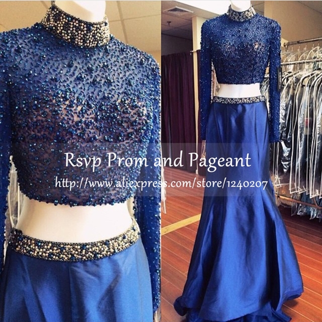 879eae1976b Stunning Two Piece Prom Dresses 2017 High Neck Long Sleeve Beaded Floor  Length Taffeta Navy Blue Mermaid Prom Dress
