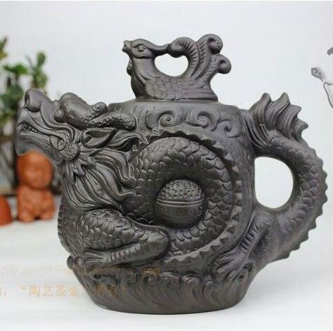 NEW YIXING TEAPOT Dragon and Phoenix tea pot Premium black 470ml tea infuser purple clay tea set kettle kung fu teapot