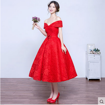 Robe red lace tea length evening dress 2017 new spring for Red tea length wedding dress