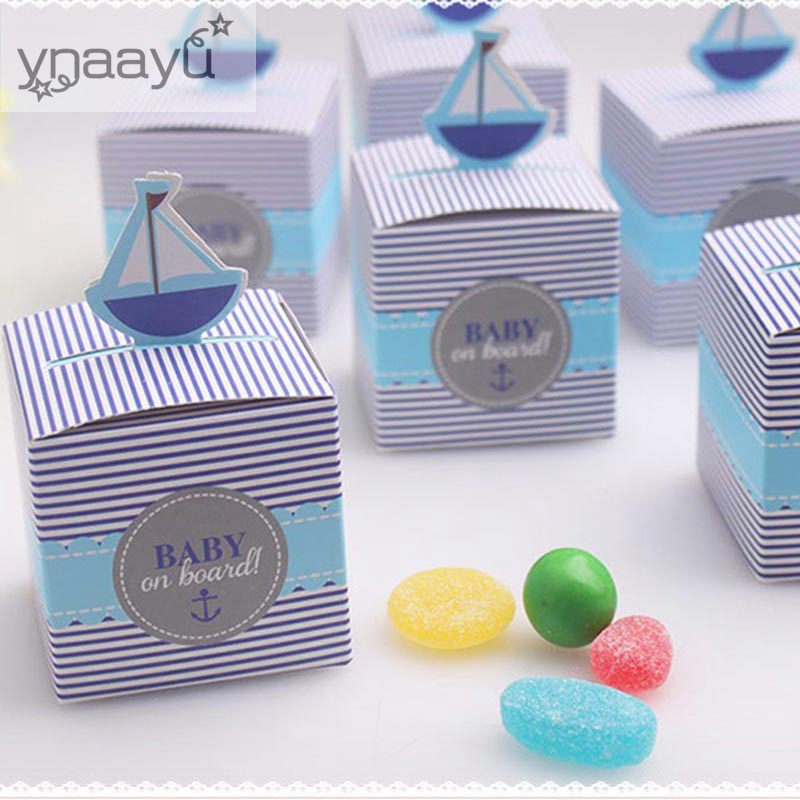 Ynaayu 3pcs/set Candy Boxes Baby On Board Box Blue Cookie box Baby Shower Birthday Party Decoration Kids Favor Gift Box