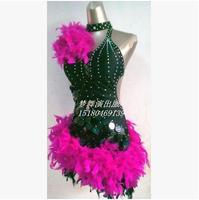 New Style Latin Dance Costume Sexy Feather Sequins Latin Dance Competition Dress For Women S Child