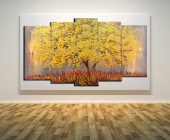 Handmade Beautiful Oil Paintings On Canvas Modern Group Of Pictures Tree Landscape Wall Picture For Living Room Hang Paintings