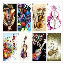 Полная квадратная 5D алмазная живопись гитара скрипка музыкальная икона Акварельная Алмазная вышивка Стразы мозаика декоративная работа