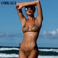 OMKAGI Brand Sexy Leopard Print Bikinis Women Brazilian Swimsuit Push Up Bikini Set Summer Halter Bandage
