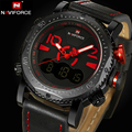 2017 NAVIFORCE Luxury Brand Dive LED Digital Watches Sport Military Genuine Leather Quartz Watch Male Relogio Masculino Clock