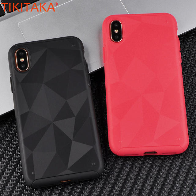quite nice e8f2d cc0c2 US $2.98 |Cool Geometric Diamond Pattern Carcasas For iPhone X Protective  Cases Black Red Transparent Plain TPU Coque For iPhoneX Case New-in Fitted  ...